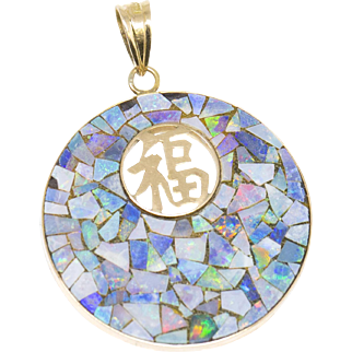 Blue Opal Mosaic Chinese Happiness Pendant 14k
