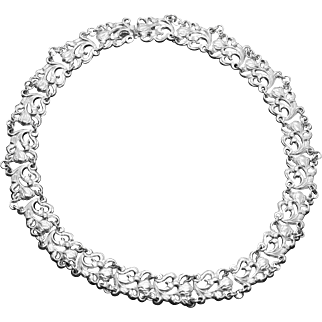Victorian Pierced Sterling Silver Floral Scroll Link Necklace