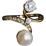 Art Nouveau Toi et Moi Akoya Pearl and Diamond Ring