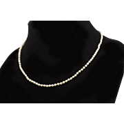 Victorian Small Graduated Natural Seed Pearl Necklace with Diamond Clasp