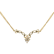 Demure 0.07ctw Diamond Necklace in 14k Yellow Gold