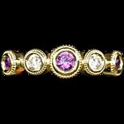 Handmade Rhodolite Garnet and Diamond Bezel Set Stack Band Ring 14k