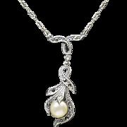Art Nouveau Marcasite and Faux Pearl Sterling Silver Drop Necklace