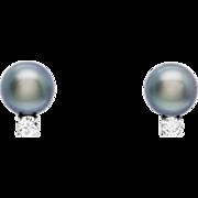 High Luster 8.2mm Tahitian Pearl and 0.25ctw Diamond Earrings