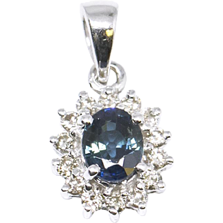 0.75ctw Blue Green Sapphire and Diamond Pendant 14k White Gold