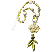 Statement Necklace Sterling Silver AKR Amy Kahn Russell Frogs Carved Bone Pearl Serpentine Peridot