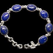 Lapis Oval Shaped Hand-crafted Link Bracelet in Sterling Silver Adjustable Length