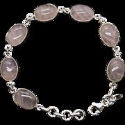 Rose Quartz Oval Shaped Link Bracelet in Sterling Silver Adjustable Length