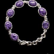 Charoite Oval Shaped Link Bracelet in Sterling Silver Adjustable Length