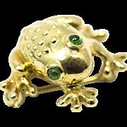 Emerald Eye Frog Pin 18k Yellow Gold