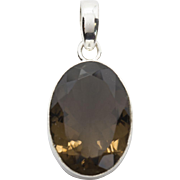 "Lovely Smokey Quartz Sterling Silver Pendant With Large Bail just over 1.25"" Length"