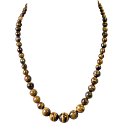 Graduated Tiger's Eye Beaded Necklace 6mm-13mm range 21inches length