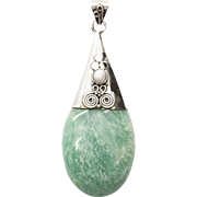 Handcrafted Amazonite and Pearl in Sterling Silver Pendant with Spiral Design