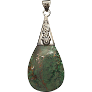 Handcrafted Green Quartz in Sterling Silver Pendant with Spiral Design