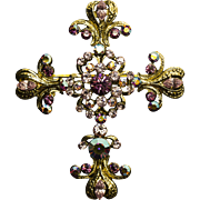 Vintage Kirks Folly Gold and Purple Cross Pendant Pin/Brooch
