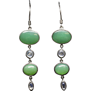 Handcrafted Chrysoprase and Moonstone in Sterling Silver Drop/Dangle Earrings