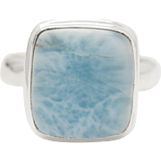 Square Larimar and Sterling Silver Ring