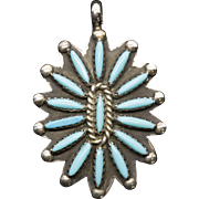 Vintage Zuni Indian Turquoise and Sterling Silver Pendant