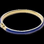Vintage Royal Blue Enamel and 18K Yellow Gold Bangle