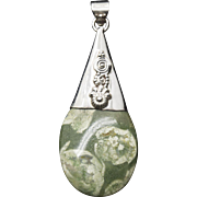 Handcrafted Green Ocean Jasper in Sterling Silver Pendant with Spiral Design