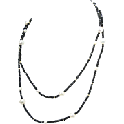 SPARKLING! Faceted Black Spinel, 14k Bead and Pearl Necklace 36""
