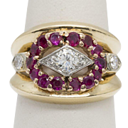 2.16ctw Vintage Ruby and Diamond Ring in 14K Yellow Gold