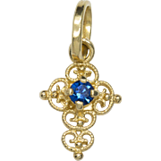 0.05ct Sapphire in 18K Gold Filigree Cross Charm Pendant