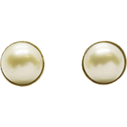 Handcrafted 12mm Golden South Sea Pearl Stud Earrings 14K Yellow Gold