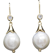 Baroque Pearl and White Topaz Earrings 14k over Sterling Silver