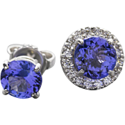 3.28ctw Handcrafted Tanzanite Stud Earrings with Diamond Halo Jackets