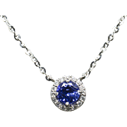 "Handcrafted 1.20ctw Rich Tanzanite and Diamond Halo Necklace 14k 18"" Christmas!"
