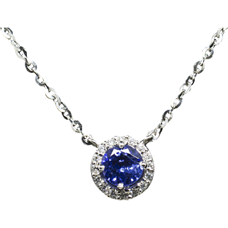 """Handcrafted 1.20ctw Rich Tanzanite and Diamond Halo Necklace 14k 18"""" Christmas!"""