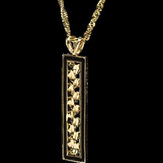 "Solid 14k and Black Enamel Leaf Garland Pendant Chain Necklace 24"""