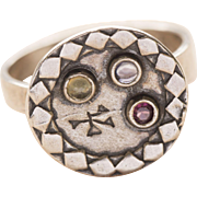 Garnet, Amethyst and Citrine Sterling Silver Disc Cluster Engraved Ring Made in Israel