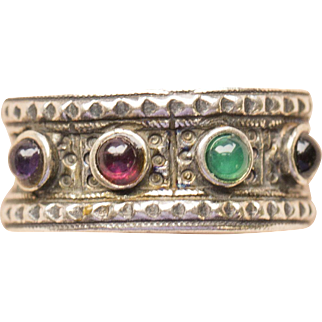 Amethyst Garnet Emerald Onyx Engraved Sterling Silver Ring Made in Israel