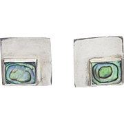 Vintage Southwestern Abalone and Sterling Silver Square Earring Studs