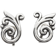 Vintage Sterling Silver Whimsical Swirl Earrings With Screwback