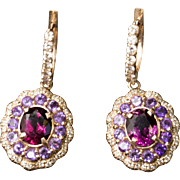 5.00ctw Rhodolite Garnet, Amethyst and Diamond Rose Gold Hoop Dangle Earrings 14k