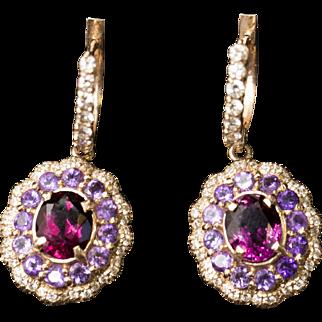 5.00ctw Rhodolite Garnet, Amethyst and Diamond Rose Gold Hoop Dangle Earrings 14k