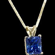 "7.75ct London Blue Topaz 14k Yellow Pendant Necklace 16"""