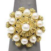 Victorian Akoya Pearl Princess Harem Ring 14k Yellow Gold