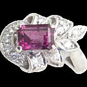 Vintage 1.60ctw Pink Tourmaline and Diamond Ring 14k White Gold