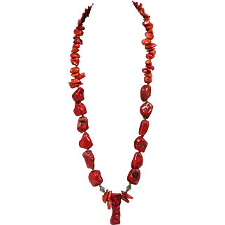 Red Coral and Sterling Silver Graduated Necklace 250g!