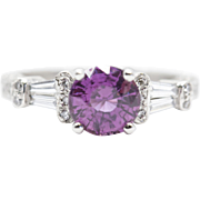 2.05ctw Purple Sapphire and Diamond Engraved Ring in Platinum