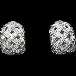 Tiffany & Co. Vannerie 0.88ctw Diamond Platinum Basket Weave Earrings