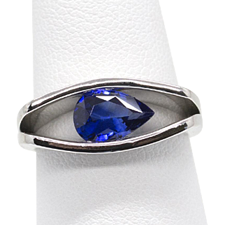 Modern Sculptural Blue Sapphire Platinum Band Ring Engagement Size 7 13.0g!