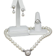 Vintage Akoya Pearl 14k White Gold Necklace, Ring, and Earring Set Wedding Gift