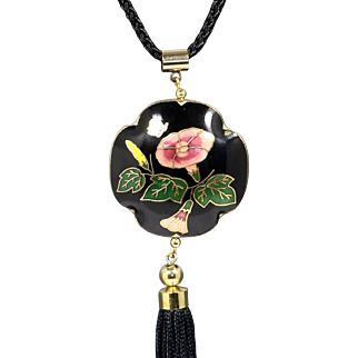 Black Floral Cliossone' Pendant Necklace with Black Silk Tassel
