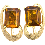 Vintage Modern Madiera Citrine and 14k Yellow Gold Pierced Earrings