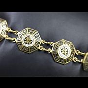 Victorian Brass and Enamel Bracelet